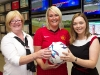 Glengormley woman Cathy Duffy has won an all expenses paid VIP trip for 2 organised by McLean's Bookmakers to see Manchester United play at Old Trafford. Presenting her with the tickets are Mallusk Branch Manager Joy Erdis and McLean's Public Relations Officer Megan McKeown