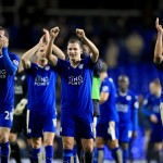 (From left to right) Leicester City's Christian Fuchs, Marc Albrighton and Leonardo Ulloa celebrate after the final whistle of the Barclays Premier League match at White Hart Lane, London.