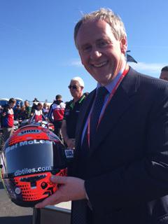 Paul McLean with Seeley's helmet