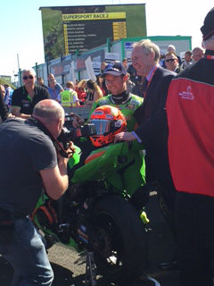 Seeley after his Betmclean Supersport race win with Paul McLean